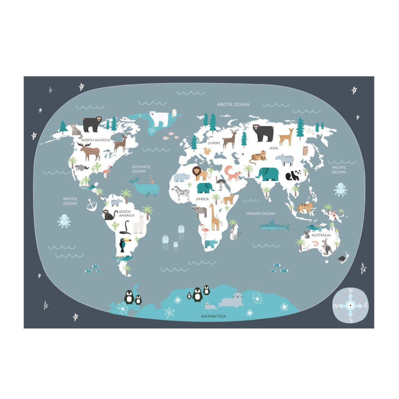 Wondermade - Kids World Map Wall Decal - Dark Grey-BabyDonkie