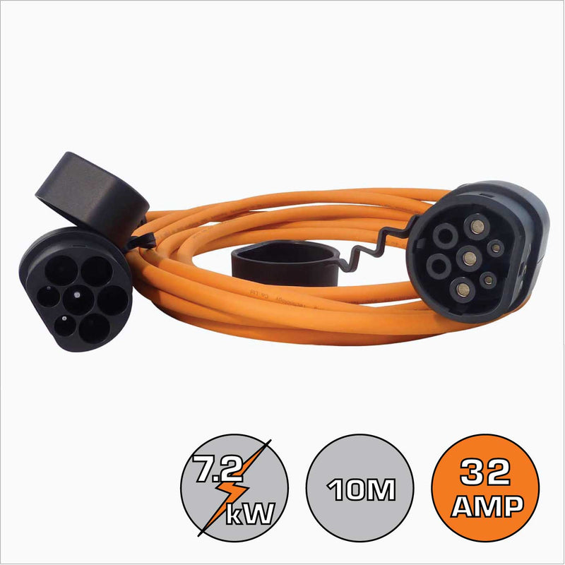 Renault Zoe Type 2 32A Single Phase 10m EV Cable