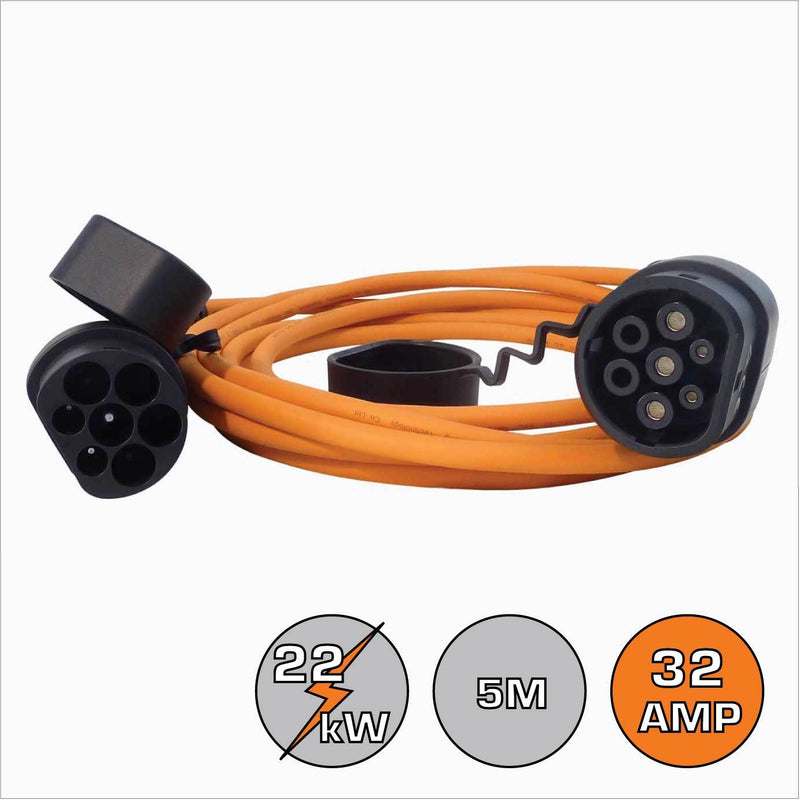 Renault Zoe Type 2 32A 3 Phase 5m EV Cable