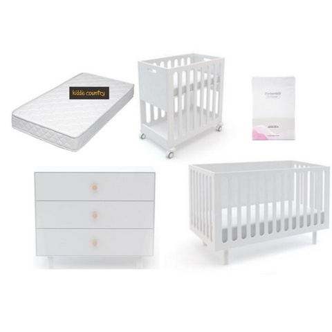 Fawn Bassinet/Cot System Nursery Package in White - Kiddie Country