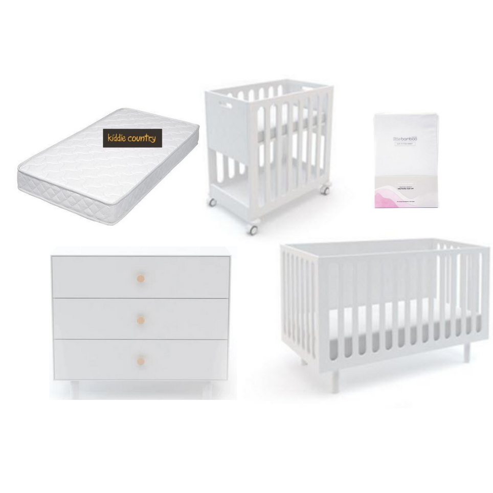 Fawn Bassinet/Cot System Nursery Package in White
