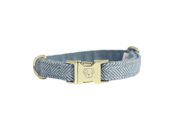 Dog Collar Wool Light Blue