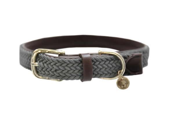 Plaited Nylon Dog Collar Grey