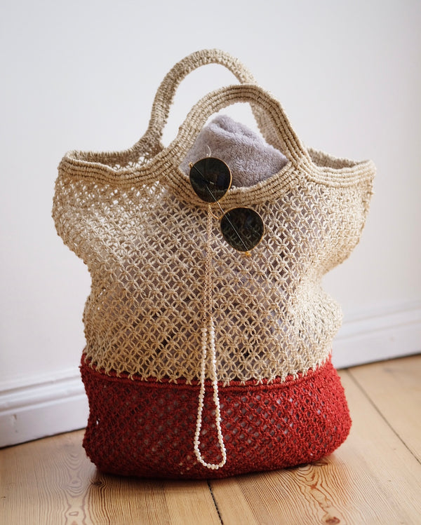 Handwoven Jute String Bag Red