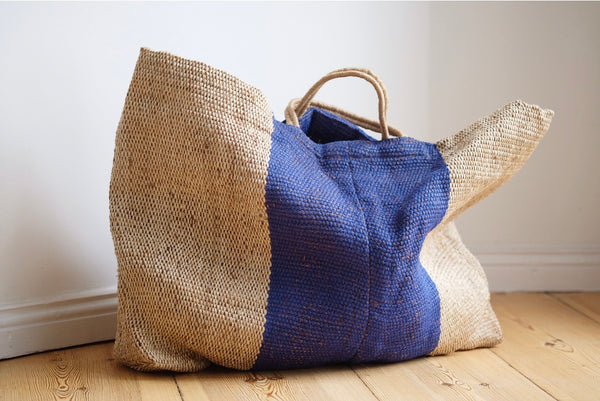 Large Handwoven Shopper Blue Stripe