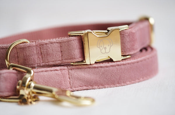 Dog Collar Velvet Old Rose