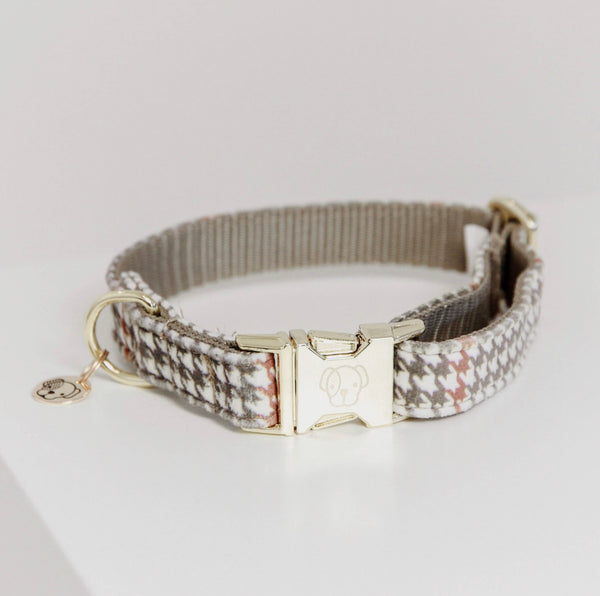 Dog Collar Pied-de-Poule Beige