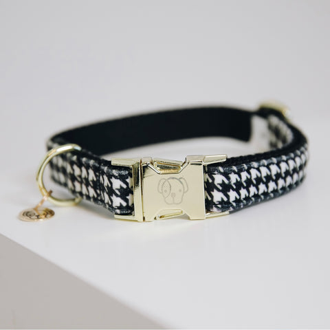 Dog Collar Pied-de-Poule Black
