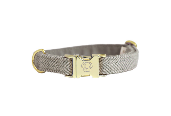 Dog Collar Wool Beige