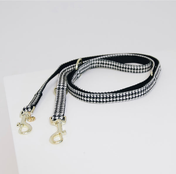Dog Leash Pied-de-Poule Black