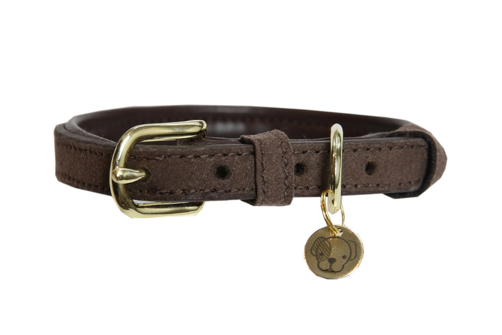 Dog Collar Velvet Leather Brown