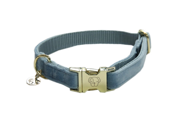 Dog Collar Velvet Light Blue