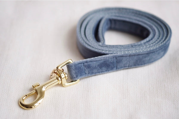 Dog Leash Velvet Light Blue