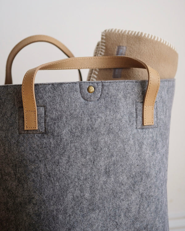 Felt Storage Basket Grey