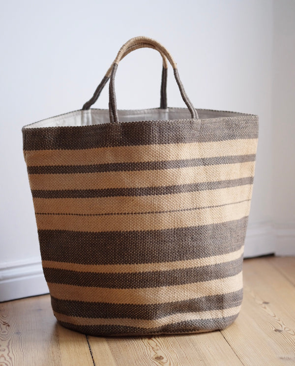 Handwoven Shopper Grey Stripes