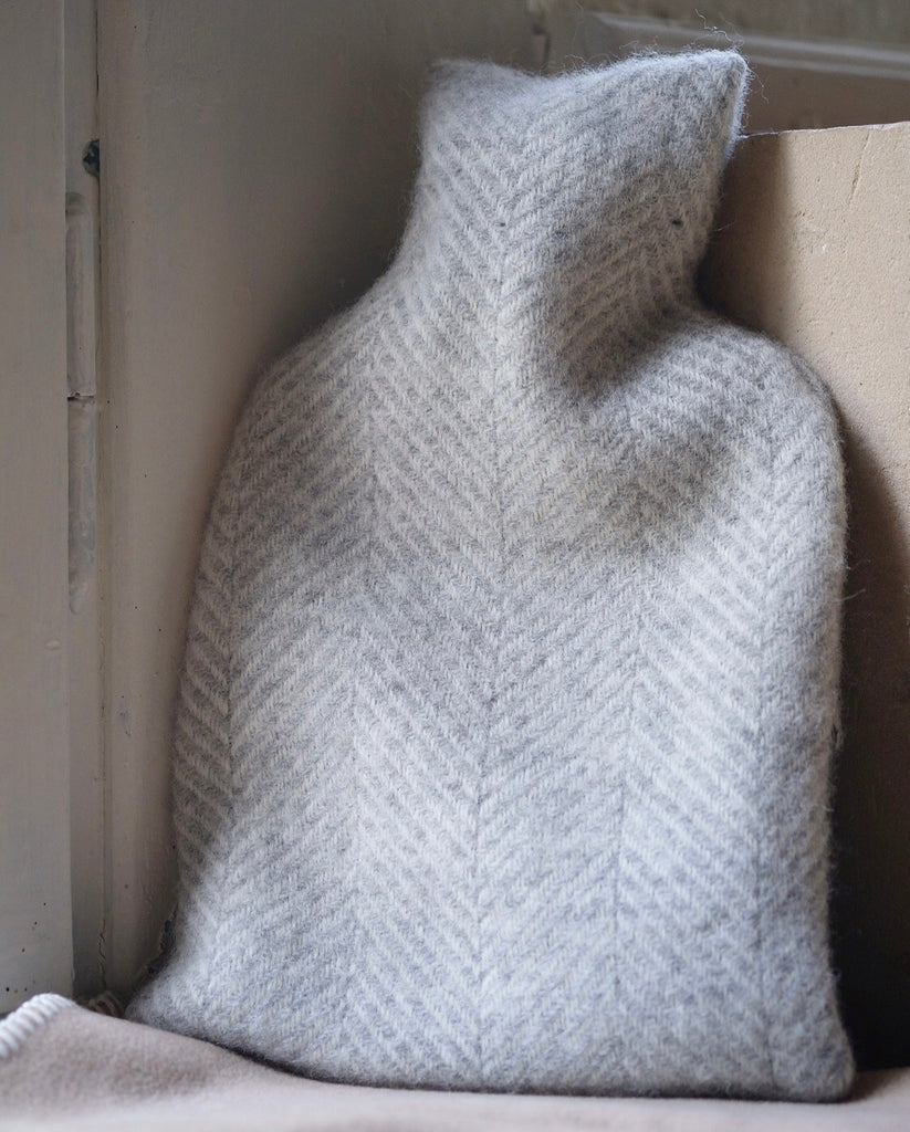Pure Wool Hot Water Bottle Light Grey