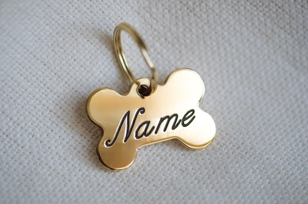 Bone Shaped Brass Dog Tag