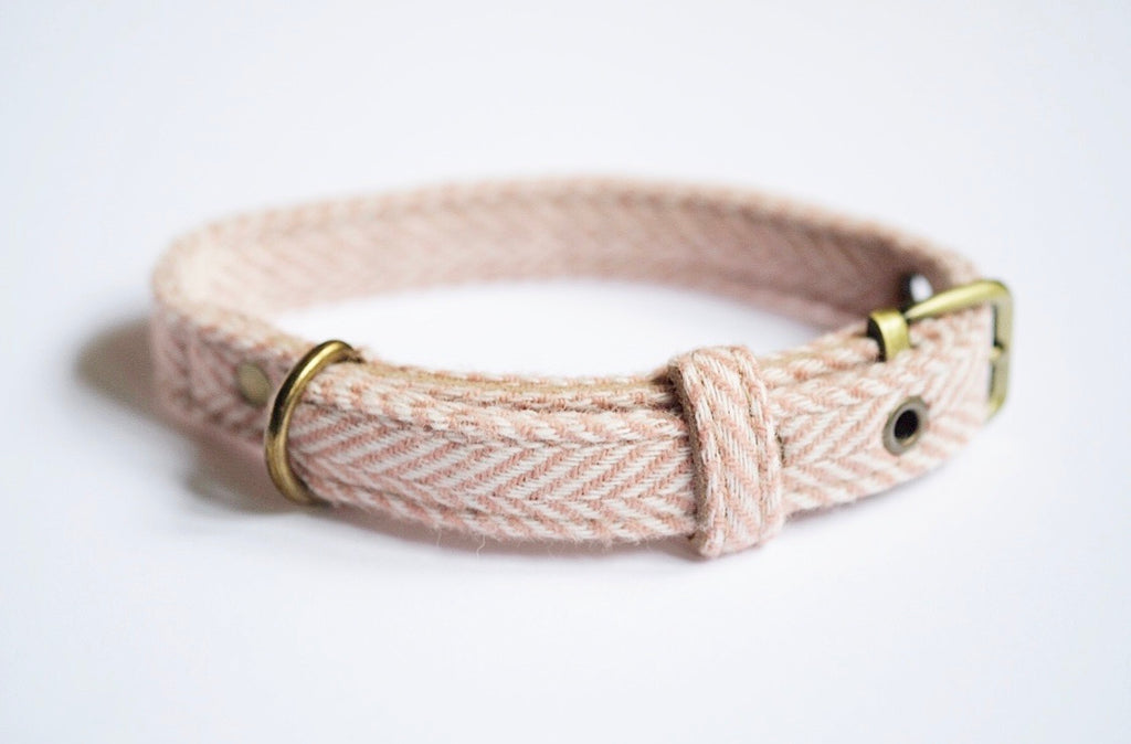 Tweed Dog Collar Rose