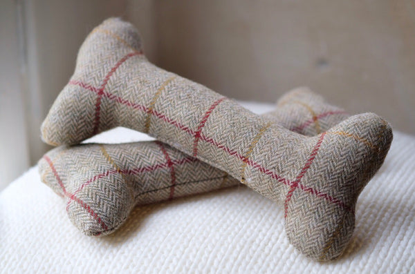 Tweed Bone Dog Toy Beige