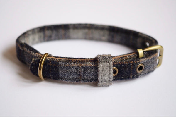 Tweed Dog Collar Navy