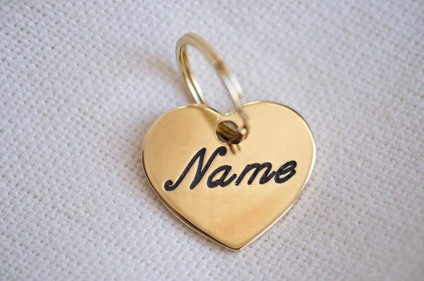 Heart Shaped Brass Dog Tag
