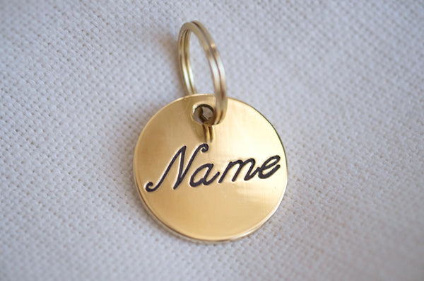 Round Brass Dog Tag