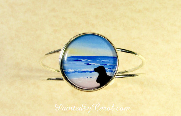Basset On Beach Cuff Bracelet