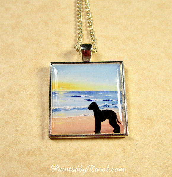 Bedlington Terrier On Beach Pendant