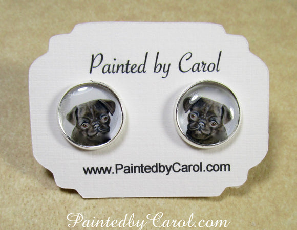 Black Pug Earrings