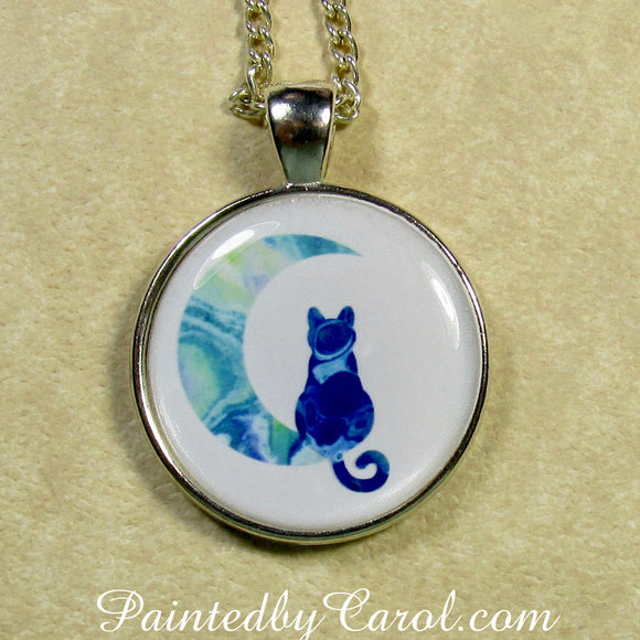 Blue Cat on the Moon Pendant