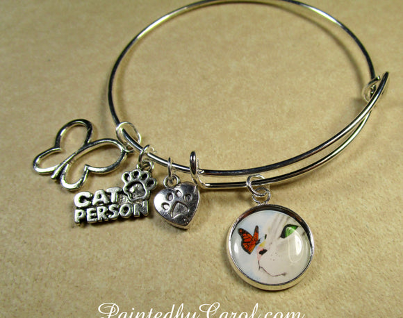 Gray Cat and Butterfly Bangle Bracelet
