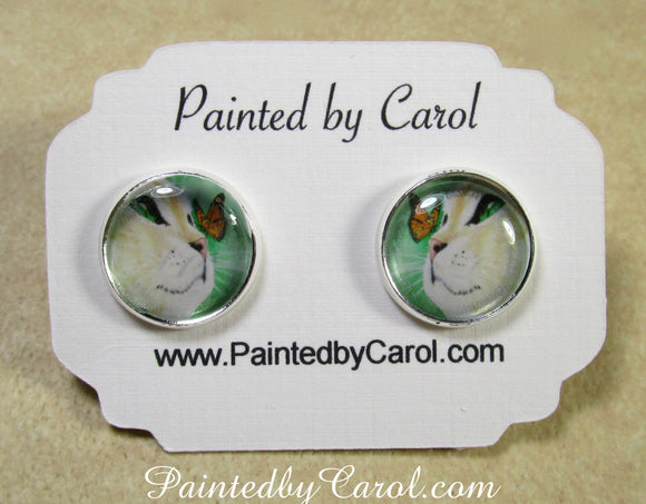 Yellow Cat and Butterfly Earrings