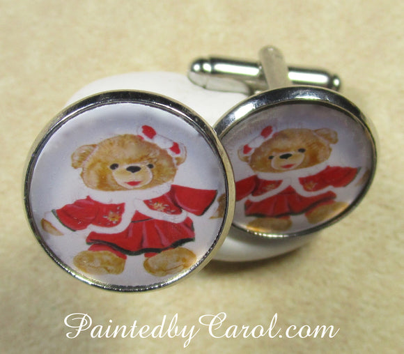 Mrs Christmas Bear Cufflinks