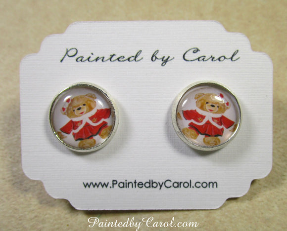 Mrs Christmas Bear Earrings