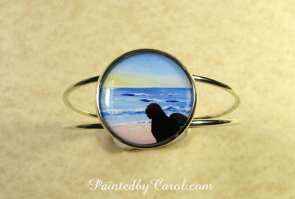 Old English Sheepdog On Beach Cuff Bracelet