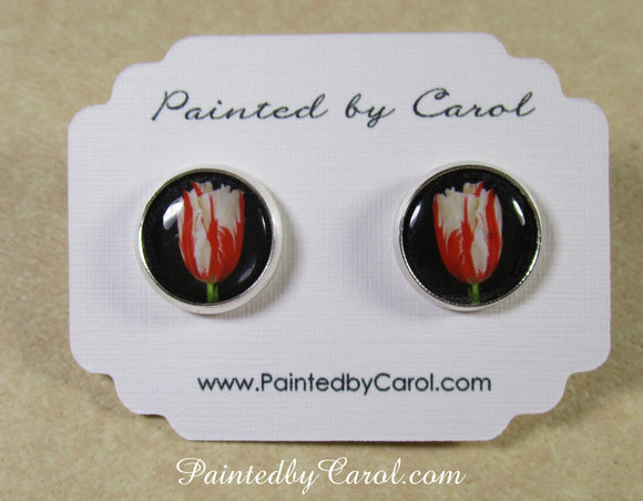 Red and White Tulip Earrings