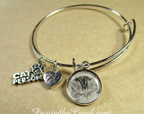 Gray Tabby Kitten Bangle Bracelet