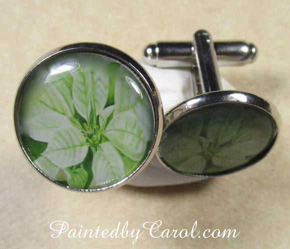 White Poinsettia Cufflinks