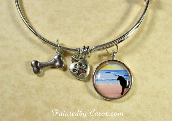 Akita On Beach Bangle Bracelet