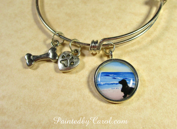Basset On Beach Bangle Bracelet