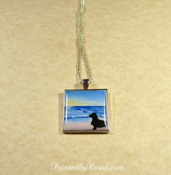 Basset On Beach Pendant