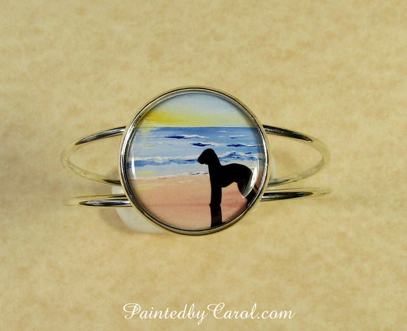 Bedlington Terrier On Beach Cuff Bracelet