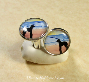 Bedlington Terrier On Beach Cufflinks