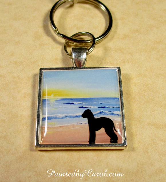 Bedlington Terrier On Beach Keychain