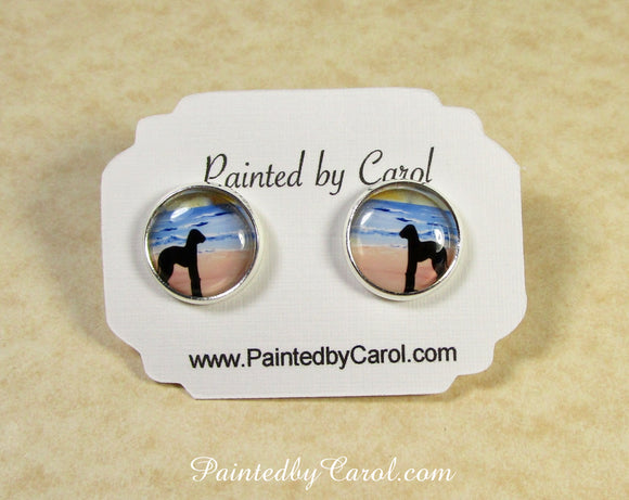 Bedlington Terrier On Beach Earrings
