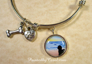 Bichon Frise On Beach Bangle Bracelet