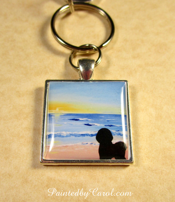 Bichon Frise On Beach Keychain