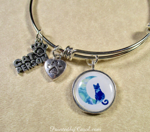 Blue Cat on the Moon Bangle Bracelet