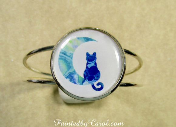 Blue Cat on the Moon Cuff Bracelet
