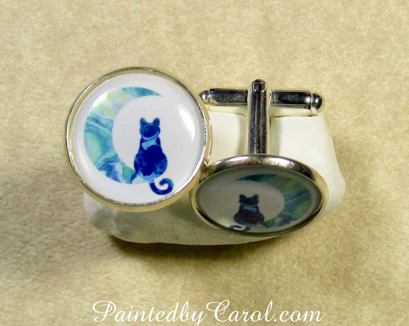 Blue Cat on the Moon Cufflinks